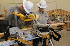 Photo: construction students working in lab