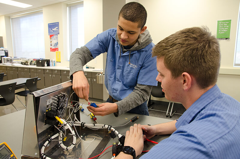 photo: students working with wiring project