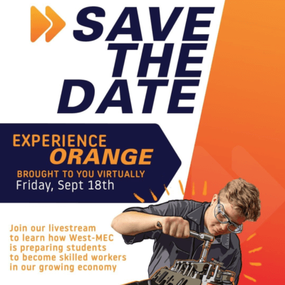 Save the Date Graphic: West-MEC Free Community Event - Experience Orange Sept. 18