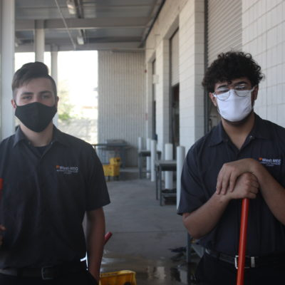 Image-West-MEC Career Training Auto Technology program students wearing masks demonstrating safety on campus