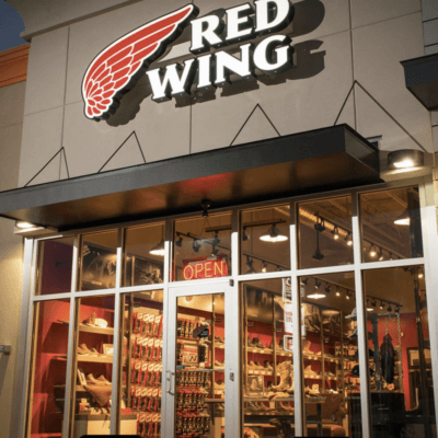 image of Red Wing Shoes Storefront- partner boot program with West-MEC
