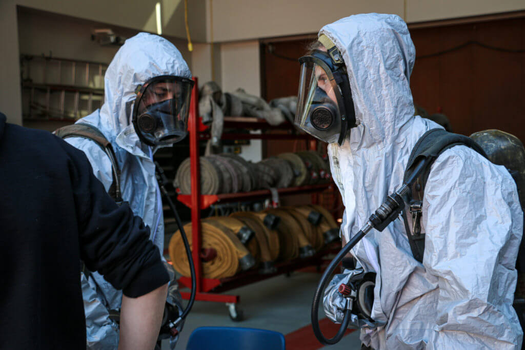West-MEC Career Training Fire Science students in protective gear